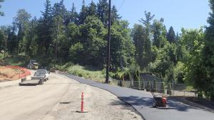 Paving base layer for new shared path on west side of 238th Dr., 6-2-2021.