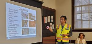 A Preparedness Advocate giving a disaster presentation at the St Johns Library