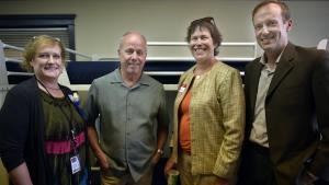 From left: Jean Dentinger (Health Department, Program Manager); Ed Blackburn (Central City Concern, Executive Director); District 3 Commissioner Judy Shiprack and Mark Jolin (A Home for Everyone, Initiative Director).