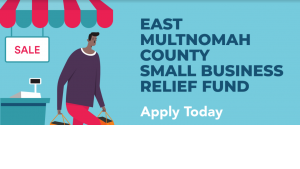 Image of person shopping with the words East Multnomah County Small Business Relief Fund