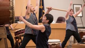 Portland Taiko drummers at 2019 Asian Pacific Islander Month celebration