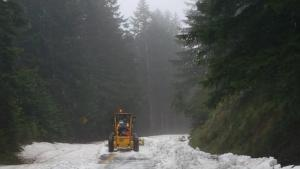 Snow removal on upper Larch Mountain Road, May 2021