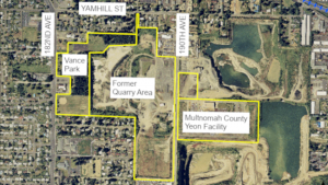 Aerial view of undeveloped area between 182nd and 190th, marked as Vance Park, Former Quarry Area and Multnomah County Yeon Facility.