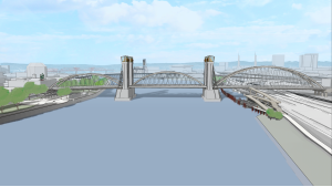 New long span Burnside Bridge with tied arch design.