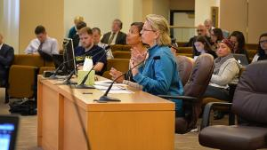 Joanne Fuller, health department director and Tricia Tillman, public health director at Thursday's board meeting.