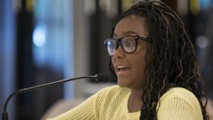 Amira Spears-Hardy addresses the board on Tuesday evening.