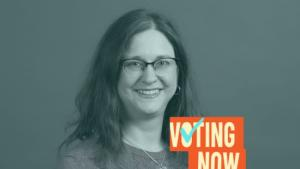 Photo of Auditor Jennifer McGuirk with the Voting Now podcast logo layered over the image in the lower right-hand corner