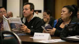 Abraham Silva (left) and Yolanda Paredes are among nearly 40 participants in this free series of classes on citizenship