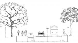 Arata Road proposed design cross-section.