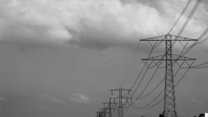 Black and white image of power lines