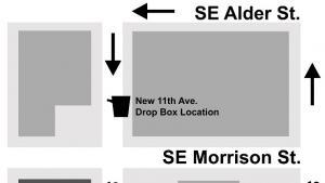 Image of drop box change on SE 11th Avenue one block north between SE Alder and SE Morrison