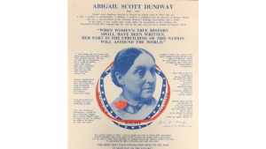 Poster promoting Portland suffragette Abigail Scott Duniway