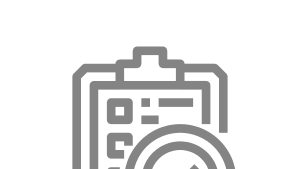 icon of a paper survey on a clipboard with a magnifying class over part of it