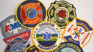 collage of paramedic uniform patches