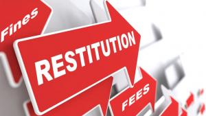 Arrows with the words Restitution, Fees and Fines