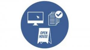 icon of stylized images of computer screen, survey and open house sign