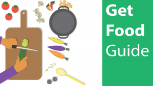 Get food guide text with person cooking illustration