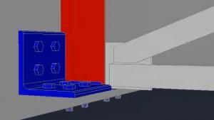 Computer rendering of steel support plate inside a bridge girder.