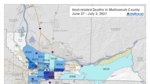 A map of heat deaths between June 27- July 2, 2021