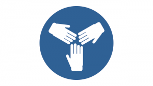 Icon showing three hands coming together.