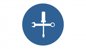 Stylized graphic of a screwdriver and a wrench