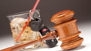 Drink, keys, judge's gavel