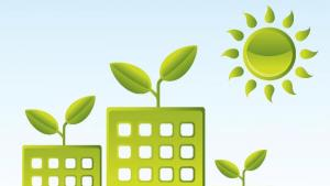 Graphic of buildings sprouting leaves