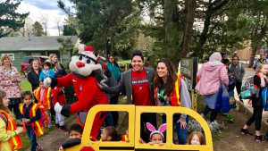 Multnomah County's Safe Routes program staff held the Walk to School celebration and had a special visit from the Portland Trailblazers mascot, Blaze.
