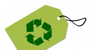 Drawing of the recycling logo on a tag