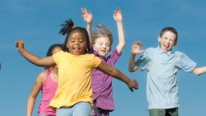 happy kids jumping around