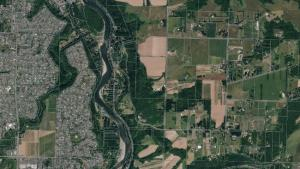 Aerial view of the Sandy River area and Troutdale.