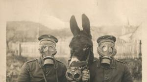 Soldiers in gas masks. credit: Indianapolis Fire Department, Indiana State Library