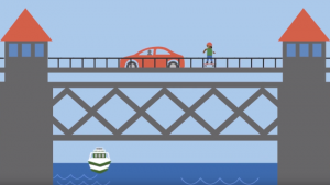 illustration of a car driving over a bridge