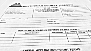 An image of the top of a right-of-way permit application.