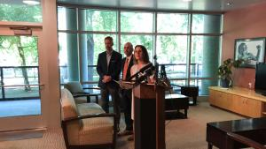 Mayor Ted Wheeler, from left, Portland Business Alliance CEO Andrew Hoan and Chair Deborah Kafoury on Friday, July 27, 2018.