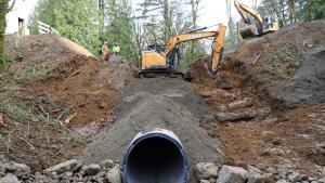 new culvert being installed