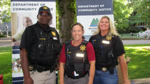 Parole and probation officers at the south park blocks booth
