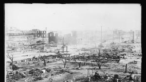 Photo of a decimated landscape after the 1921 Tulsa Race Massacre. Credit: Library of Congress