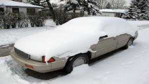 photo of snowed in car