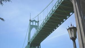 view beneath the St. John's Bridge