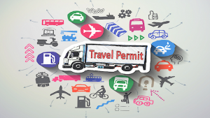 graphic with words, travel permit