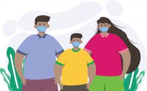 Three youth wearing masks looking forward