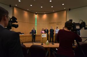 Chair Kafoury speaks at Wednesday's press conference. She is joined by Mayor Hales; Sheriff Staton; Police Chief Marshman; Transition Projects' George Devendorf and the Joint Office of Homeless Services' Marc Jolin.