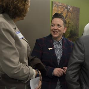 Stacy Borke of Transition Projects and Sally Erickson, left.
