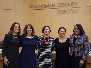 From left: Chair Deborah Kafoury and Commissioners Sharon Meieran, Jessica Vega Pederson, Lori Stegmann and Loretta Smith