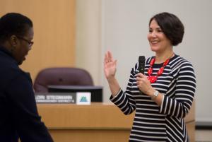 Commissioner Jessica Vega Pederson gets sworn in at Tuesday's ceremony.