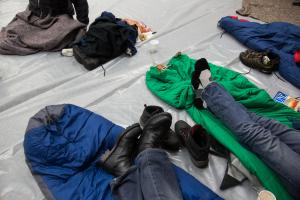 Inside the warming center at the Portland Building this winter. Severe weather meant our region's homelessness count moved from late January to late February.
