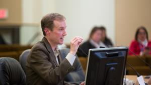 Marc Jolin, director of the Joint Office of Homeless Services and the A Home for Everyone initiative, addresses Multnomah County and Portland commissioners Tuesday, Feb. 14, 2017.