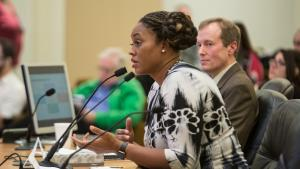 Libra Forde of Self Enhancement Inc., addressing the Multnomah County Board of Commissioners and the Portland City Council on Tuesday, Feb. 14, 2017, says culturally relevant outreach is key to ending homelessness.
