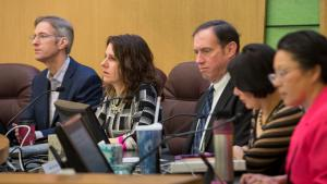 Multnomah County and Portland commissioners attend a joint briefing on homelessness services Tuesday, Feb. 14, 2017.